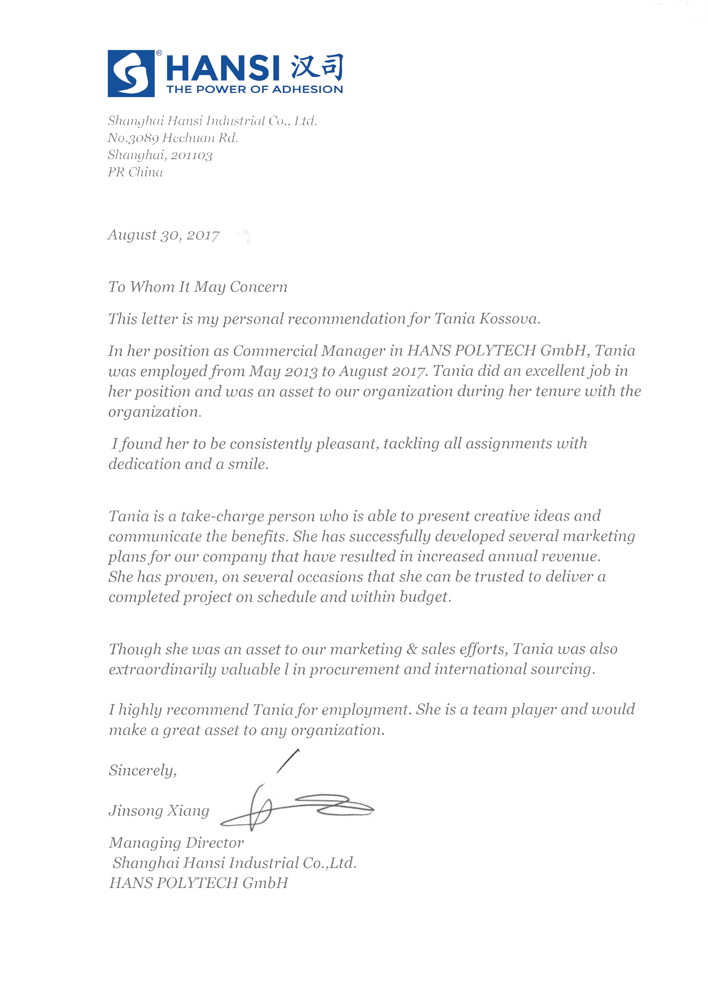 reference letter for director